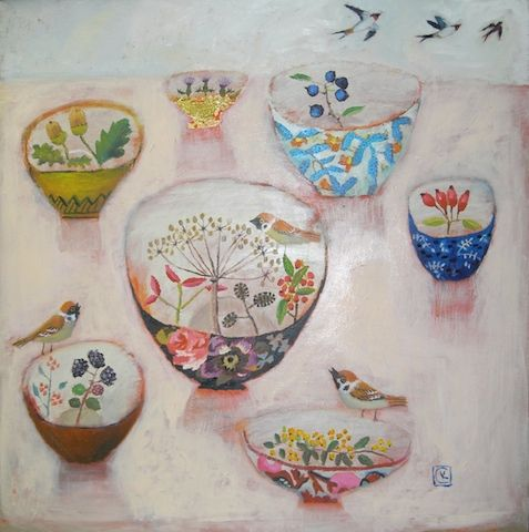 Sweet dishes painted by Vanessa Cooper.