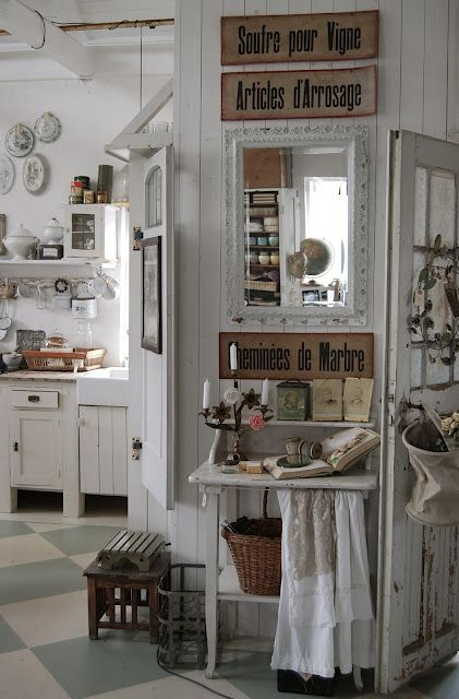 rustic and white palette...love the floor