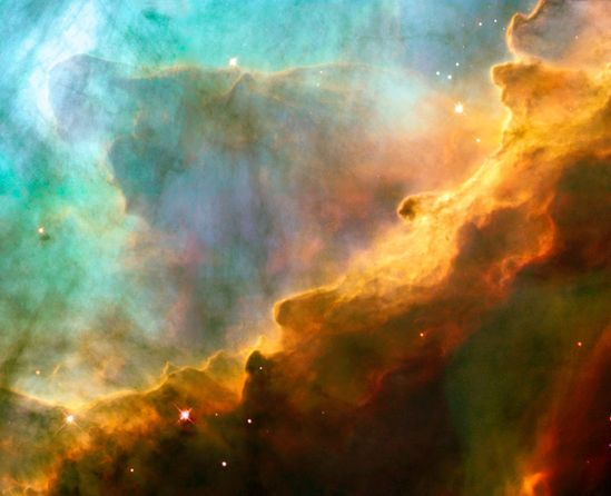 The Omega Nebula, also known as the Swan Nebula, Checkmark Nebula, Lobster Nebula, and the Horseshoe Nebula (catalogued as Messier 17 or M17 and as NGC 6618) is an H II region in the constellation Sagittarius. It was discovered by Philippe Loys de Chéseaux in 1745. Charles Messier catalogued it in 1764. It is located in the rich starfields of the Sagittarius area of the Milky Way.