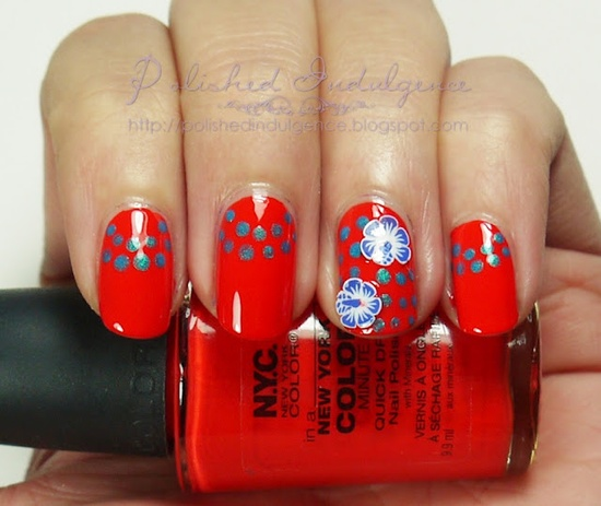 Polished Indulgence: Nail Art Wednesday: Summer Orange and Turquoise with Hibiscus accents