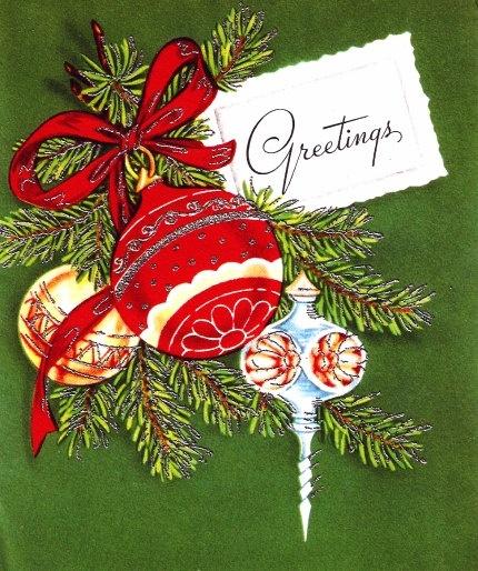 Vintage Christmas Card Pretty Tree Ornaments