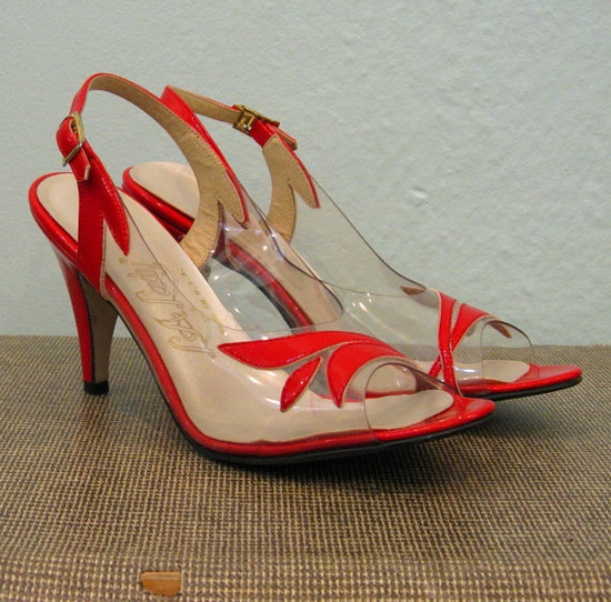 1950s Clear/Red Slingback Party Shoes