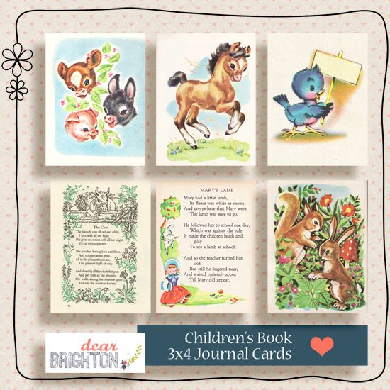 Printable -- Children's Book Journaling Cards