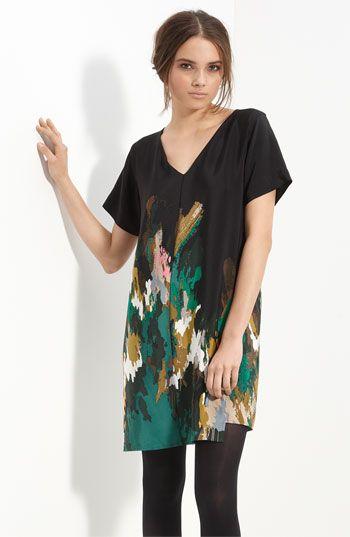 Tibi Printed Silk Shift Dress $360 #dress