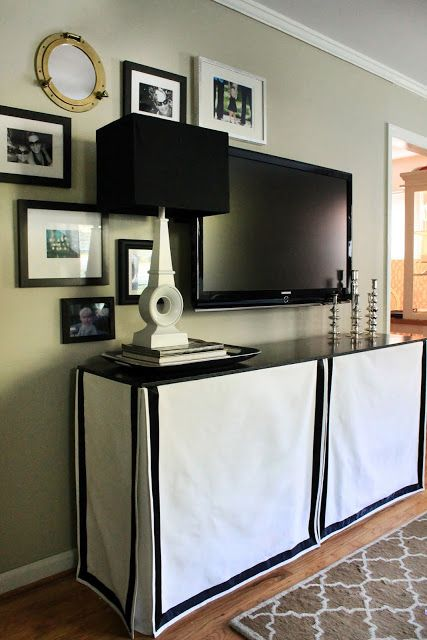 DIY Skirted Console. Great way to hide all the ugly man appliances!