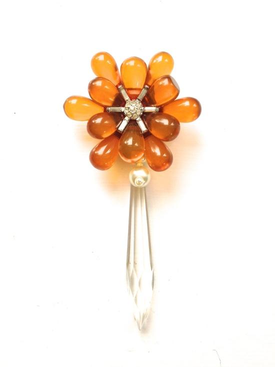 Wedding Flower Brooch Rhinestone Statement PIN in Amber, Orange, Pearl, Cream & Crystal Jewelry by ZiLLAs QuEeN. $52.00, via Etsy.