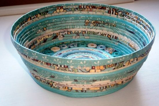Handmade Paper Basket  Aqua large by