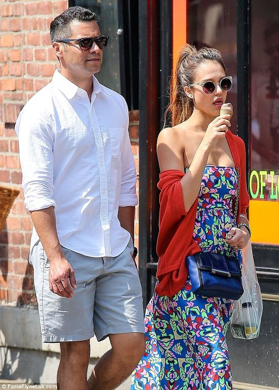 Celebrity couple Jessica Alba and Cash Warren strolling in Manhattan after lunch. via dailymail.co.uk
