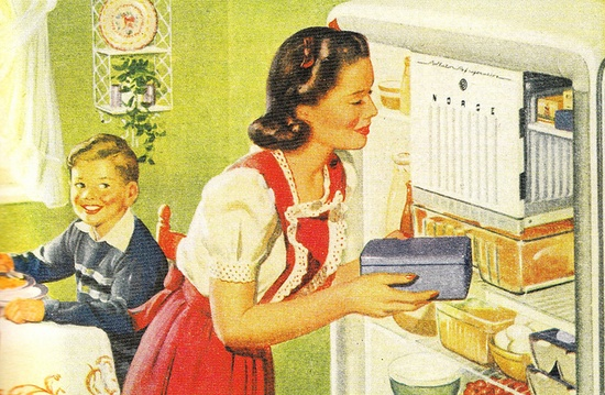 Clearly this vintage gal and I share a love for well stocked fridges. #vintage #home #homemaker #housewife #woman #retro #nostalgia #kitsch #kitchen #ad #1940s #forties #mother