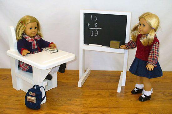 "American Girl Doll School Chalkboard / 18"" Doll Furniture / White Chalkboard on Etsy, $35.00"