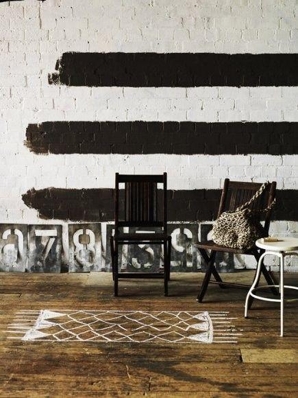 black paint stripes + spray paint number metal stencils