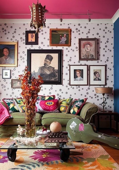 Colorful #boho living room #design with a #pink painted #ceiling and #eclectic #decor