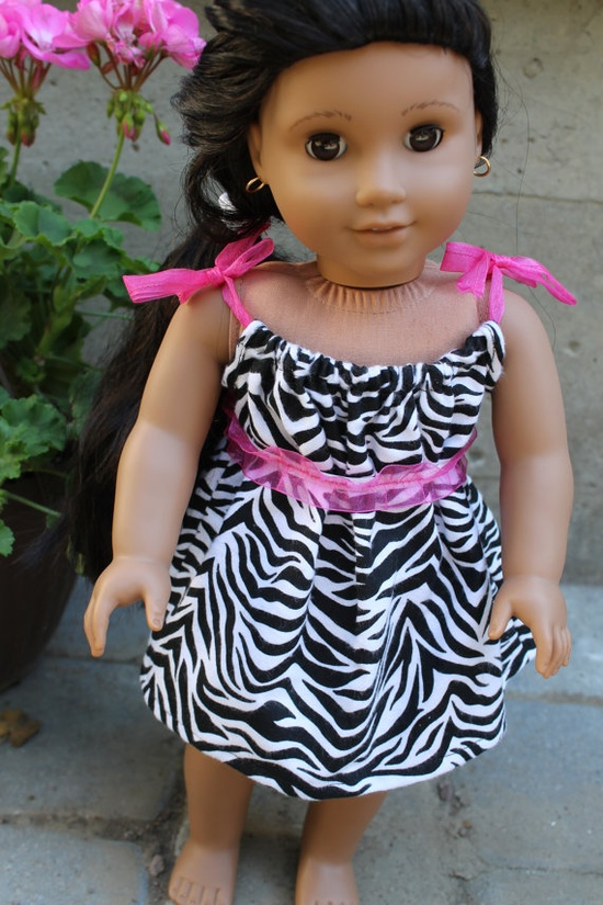 American Girl Doll dress in zebra and hot pink by HopscotchSundae, $14.00 #american girl doll #doll clothes #handmade