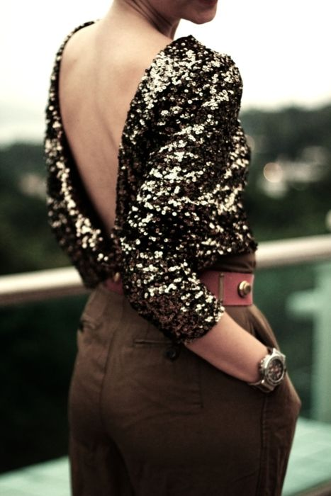 sequin low back with skirt