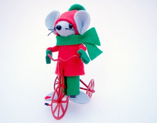 Trike Mouse Christmas Ornament felt  mice cute gift for by Warmth,