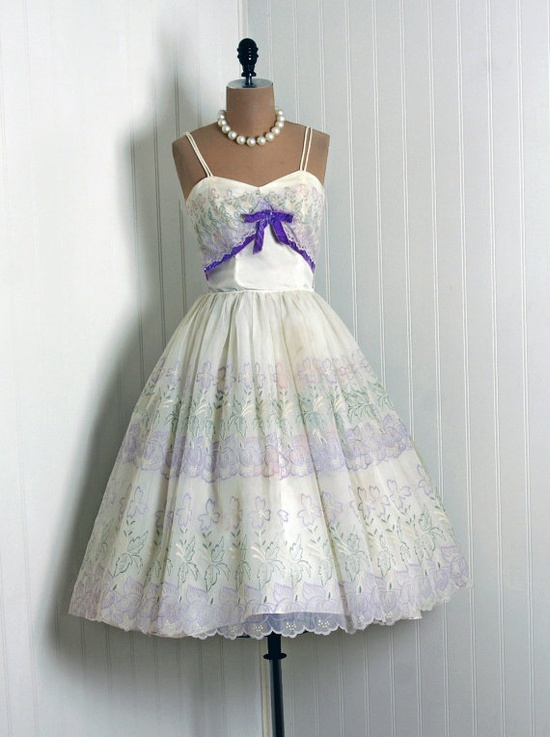 1950's Vintage Watercolor Floral-Garden Print Ivory-White Scenic Chiffon-Couture Shelf-Bust Bow Ballerina-Cupcake Circle-Skirt Party Dress