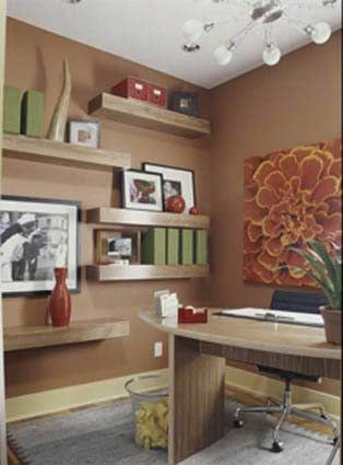 According to feng shui, one of the most important things to consider in a home office is the color scheme. Soothing colors like earth tones will actually make the space feel more tranquil. Read more feng shui home office design ideas.