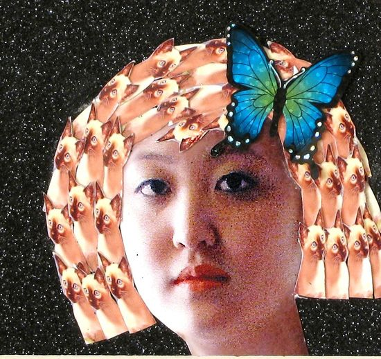 siamese cat black asian girl collage photography kitschy home decor hairstyle fantasy animal pet tagt team art