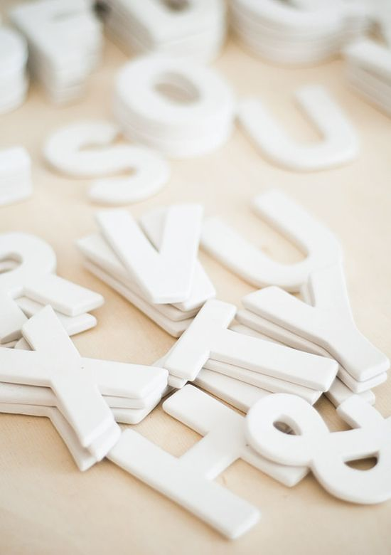 white clay letters by thesummerhouseshop