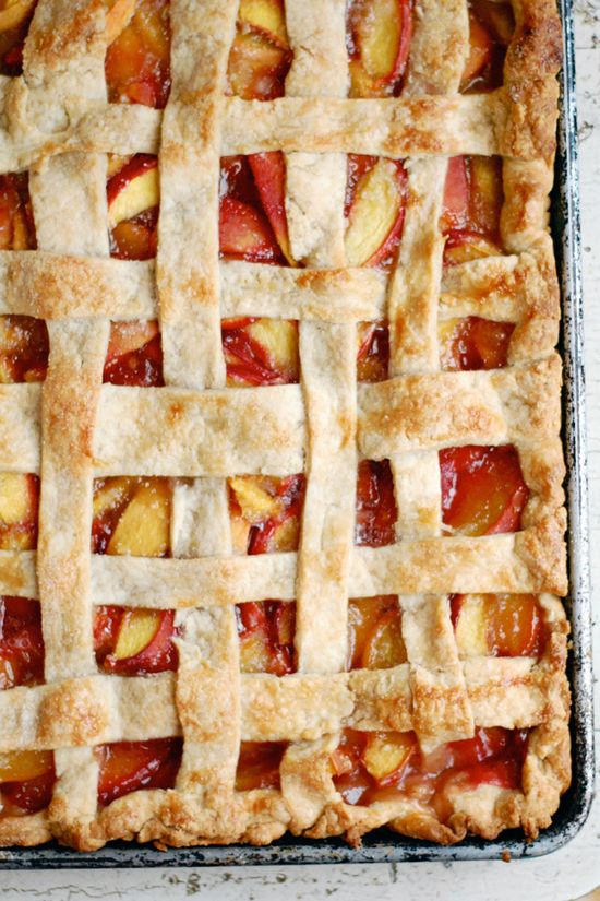 Peach Slab Pie. Ahhhh with fresh peaches in season, this makes the ultimate seasonal dessert.