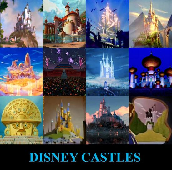Disney Castles.1st Row left to right: Queen's castle (snow white), Eric's castle (The little mermaid), King Triton's castle (little mermaid), Beast's castle (Beauty and the beast)  2nd row left to right: Zeus' Palace (Hercules), Emperor's palace (Mulan), Prince Charming's castle (cinderella), Sultan's palace (Aladdin)  3rd row left to right: Kuzco's palace (emperor's new groove), King Stefan's castle (Sleeping Beauty), Rapunzel's castle (Tangled), Queen of heart's castle (Alice in Wonderland)