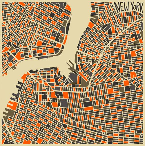 A series of geometric-shaped maps created by Toronto-based artist Jazzberry Blue.