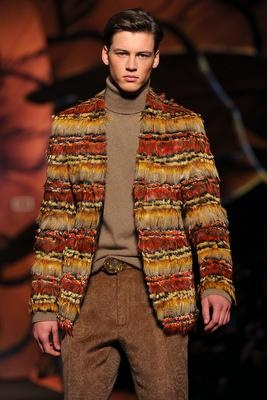 A model displays a creation of Etro Fall-winter 2012-2013 Menswear collection on January 16, 2012 during the Men's fashion week in Milan.