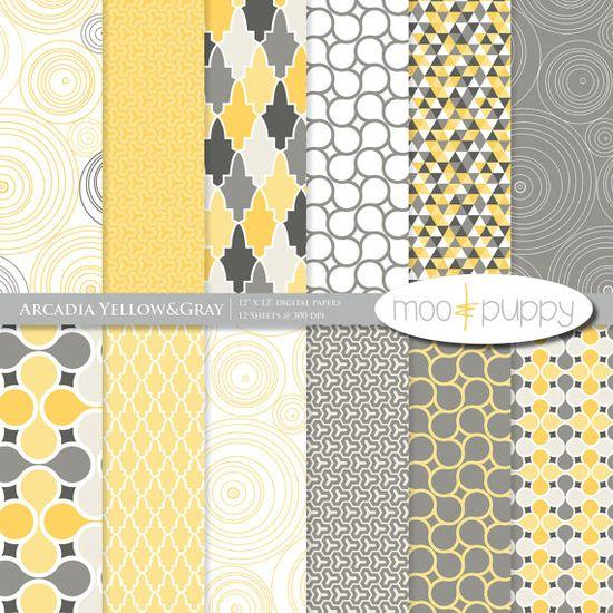 Yellow and gray Arcadia digital scrapbook paper