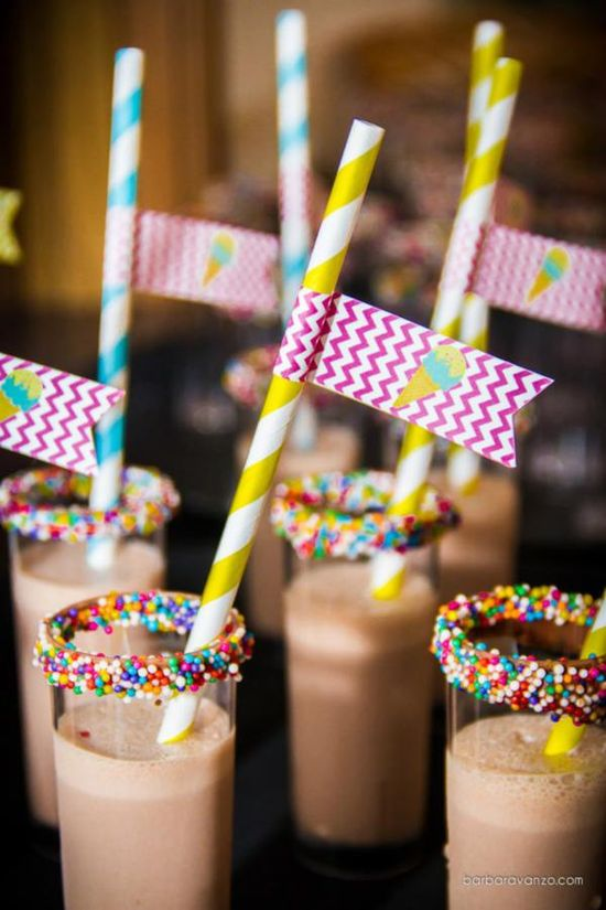 Rainbow sprinkles on Chocolate milk. This would be perfect for a sleepover breakfast or pancakes & pajamas party drink!