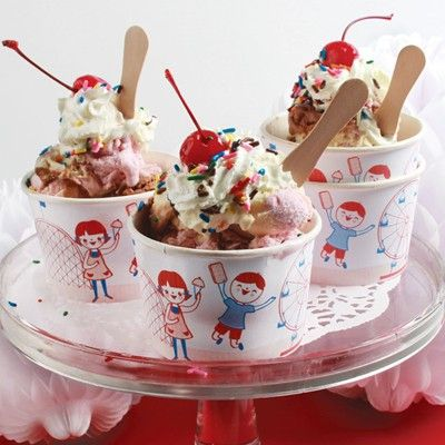 Vintage Style Ice Cream Cups