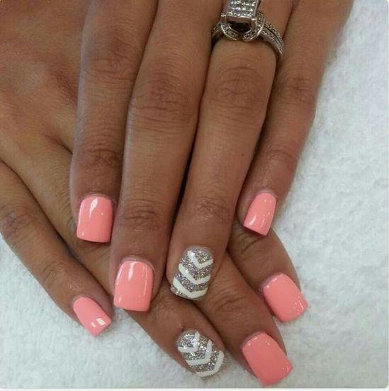 Pink and chevron nails