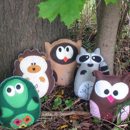 5 Woodland Forest Stuffed Animal Hand Sewing