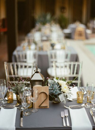 #tablescapes #succulents Photography by leilabrewsterphot..., Florals by www.arrangementsd...   Read more - www.stylemepretty...
