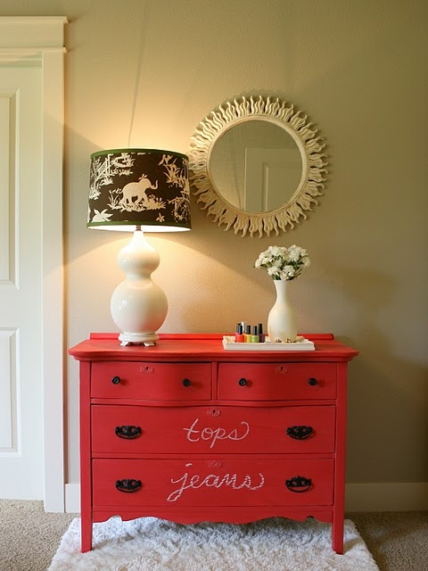 Red dresser.