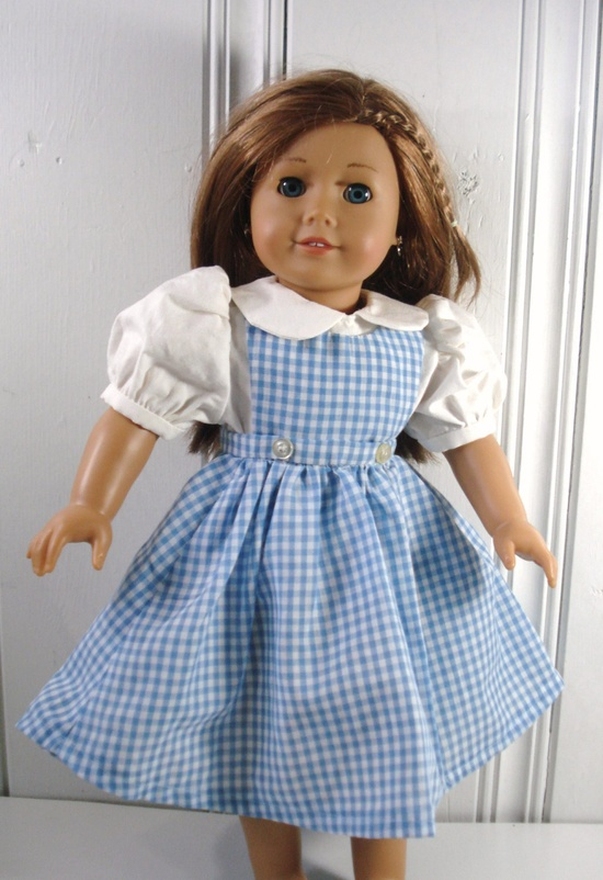 American Girl Dorothy of Oz Dress, Blue Gingham Jumper with White Blouse, Fits 18 inch Dolls. $20.00, via Etsy.
