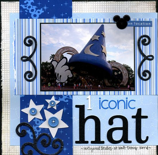 1 Iconic Hat - Scrapbook.com - Great photo and beautiful choice of the papers and embellishments. #scrapbooking #disney #americancrafts #bazzillbasics #basicgrey #doodlebugdesigns