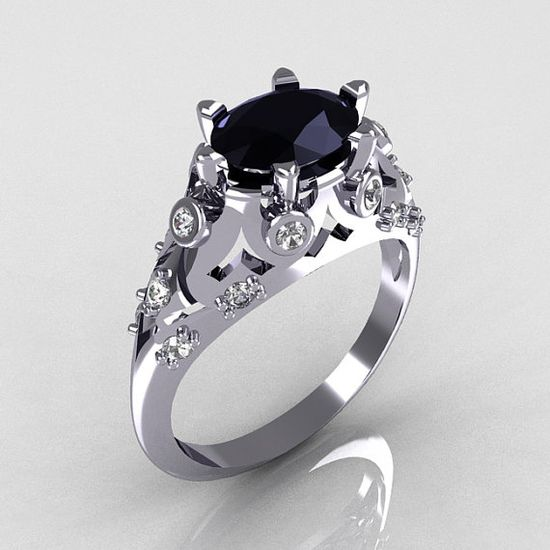 Modern Edwardian 14K White Gold 10 Carat Oval Black by artmasters, $949.00