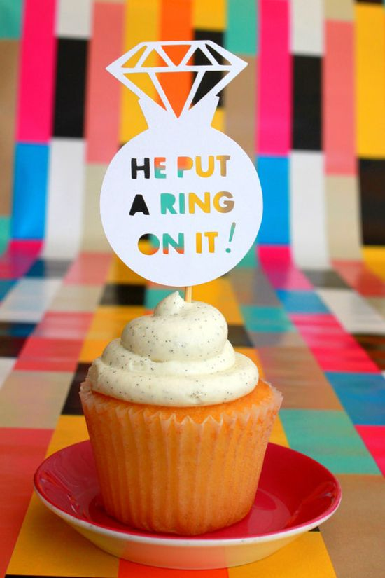 He Put A Ring On It diamond engagement ring cupcake toppers & food picks by elizabethdoodah