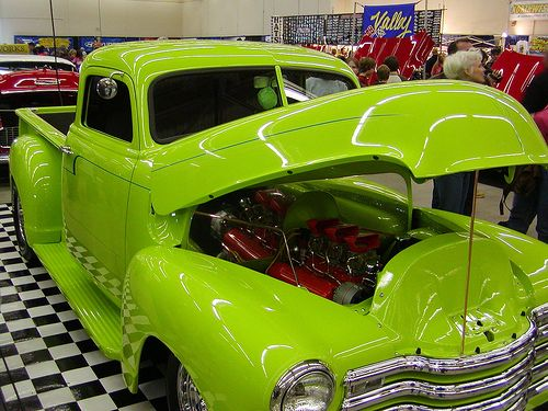 Lime Green 1950's Chevy truck