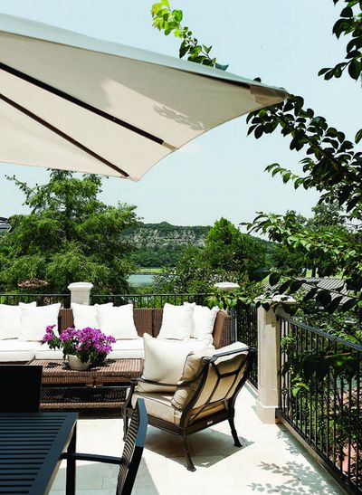 Great view and great outdoor furniture from Restoration Hardware.