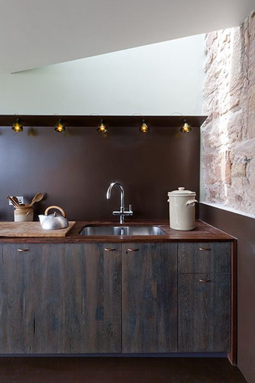 Wood grain, color, work surface and stone wall - mood.