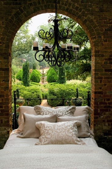 I don't fully understand this outdoor bedroom... but wow it is beautiful!