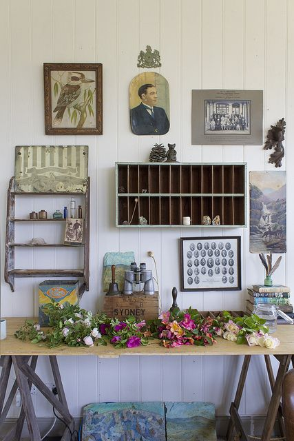 the naturalist desk covered with roses from the garden of the old schoolmasters house www.oldschoolmast...