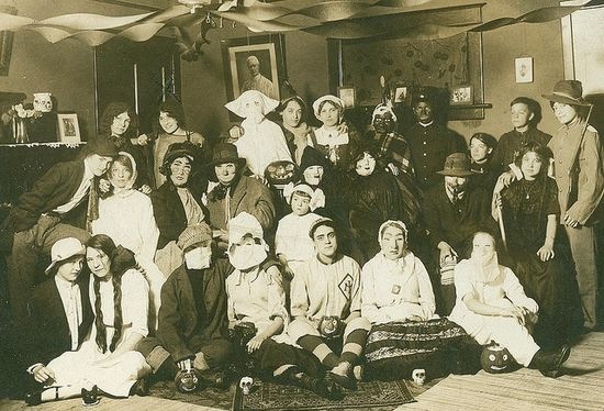 Vintage Halloween Photograph ~ Costume Party * Circa Early 1900's