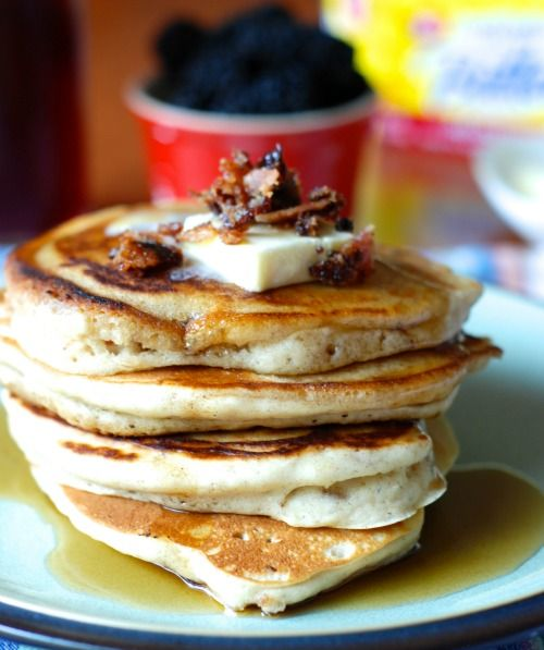 Cinnamon Pancakes with Candied Bacon on MyRecipeMagic.com