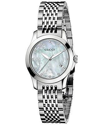Gucci Watch, Women's Swiss Stainless Steel Bracelet 27mm YA126504 - All Watches - Jewelry & Watches -