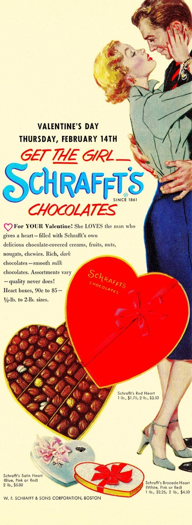 Get the girl Schrafft's Chocolates for Valentine's Day! #1950s #ads #vintage