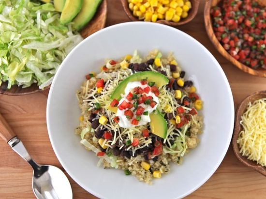 Quinoa Black Bean Burrito Bowls by theshiksa: Cilantro lime quinoa with simmered black beans, lettuce & your choice of toppings. Lunch, dinner, easy, healthy, gluten free, vegan or vegetarian. #Burrito_Bowl #Quinoa #Black_Bean #Healthy