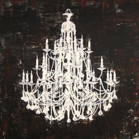 Lace Hand Painted Art - chandelier.