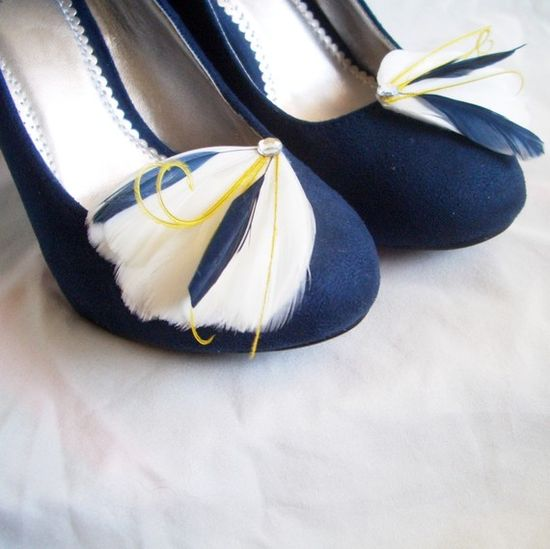 MILA SHOE CLIPS - Ivory Navy and Yellow Feather Shoe Clips